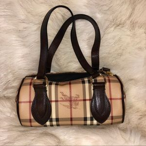 BURBERRY Vintage Check Leather Barrel Bag, NWOT